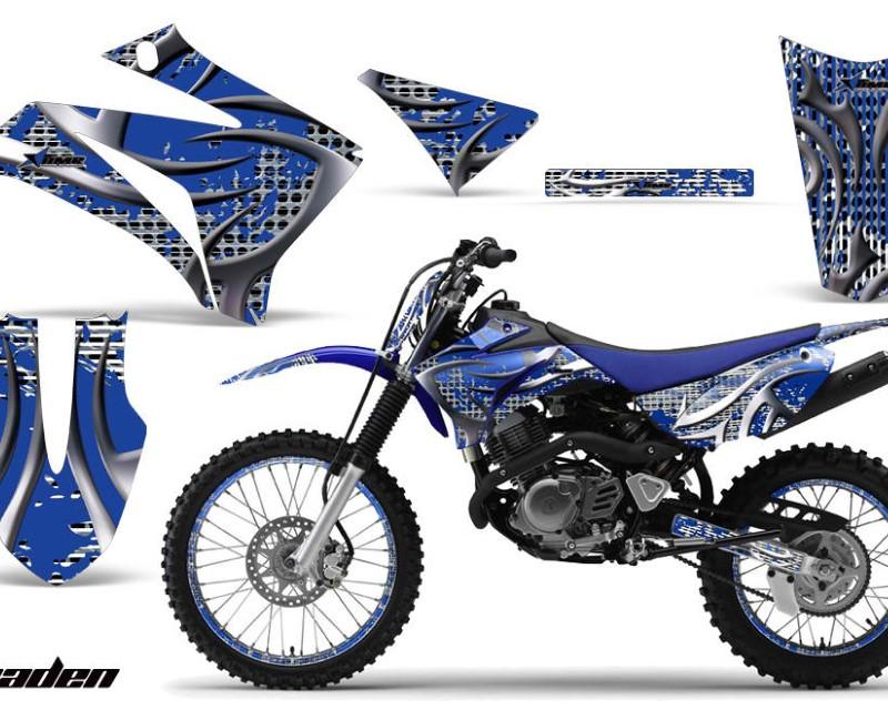 AMR Racing Graphics MX-NP-YAM-TTR125-08-18-DN U Kit MX Decal Wrap + # Plates For Yamaha TTR125LE 2008-2018 DEADEN BLUE