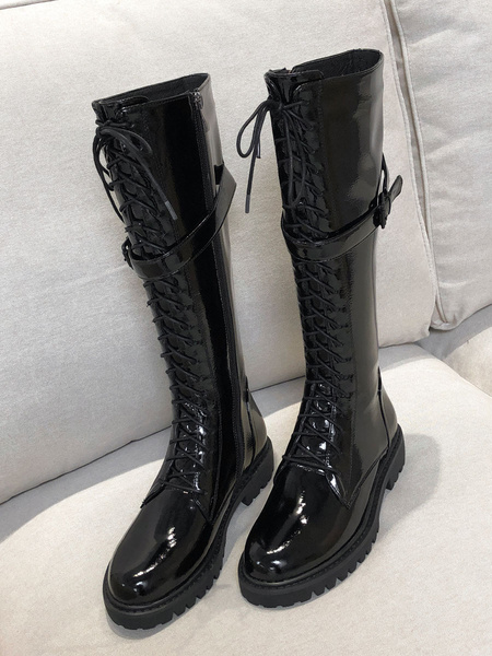 Milanoo Knee High Boots Womens Black Patent Leather Lace Up Round Toe Puppy Heel Martin Boots