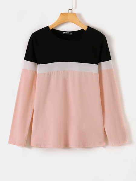 YOINS Pink Patchwork Round Neck Long Sleeves Tee