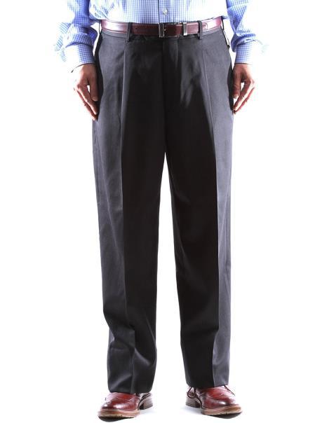 1 Wool Dress Pants Pleated Pants Charcoal Gabardine Fabric