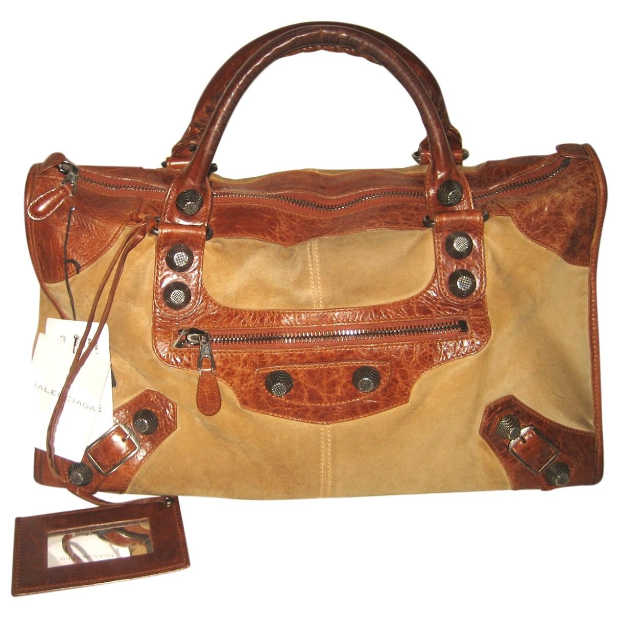 Balenciaga Work Camel Suede handbag for Women N