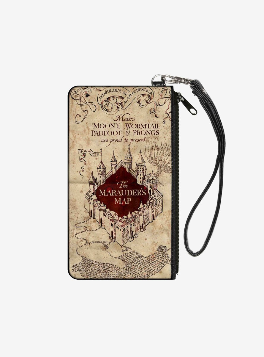 Harry Potter Hogwarts School The Marauders Map Wallet Canvas Zip Clutch