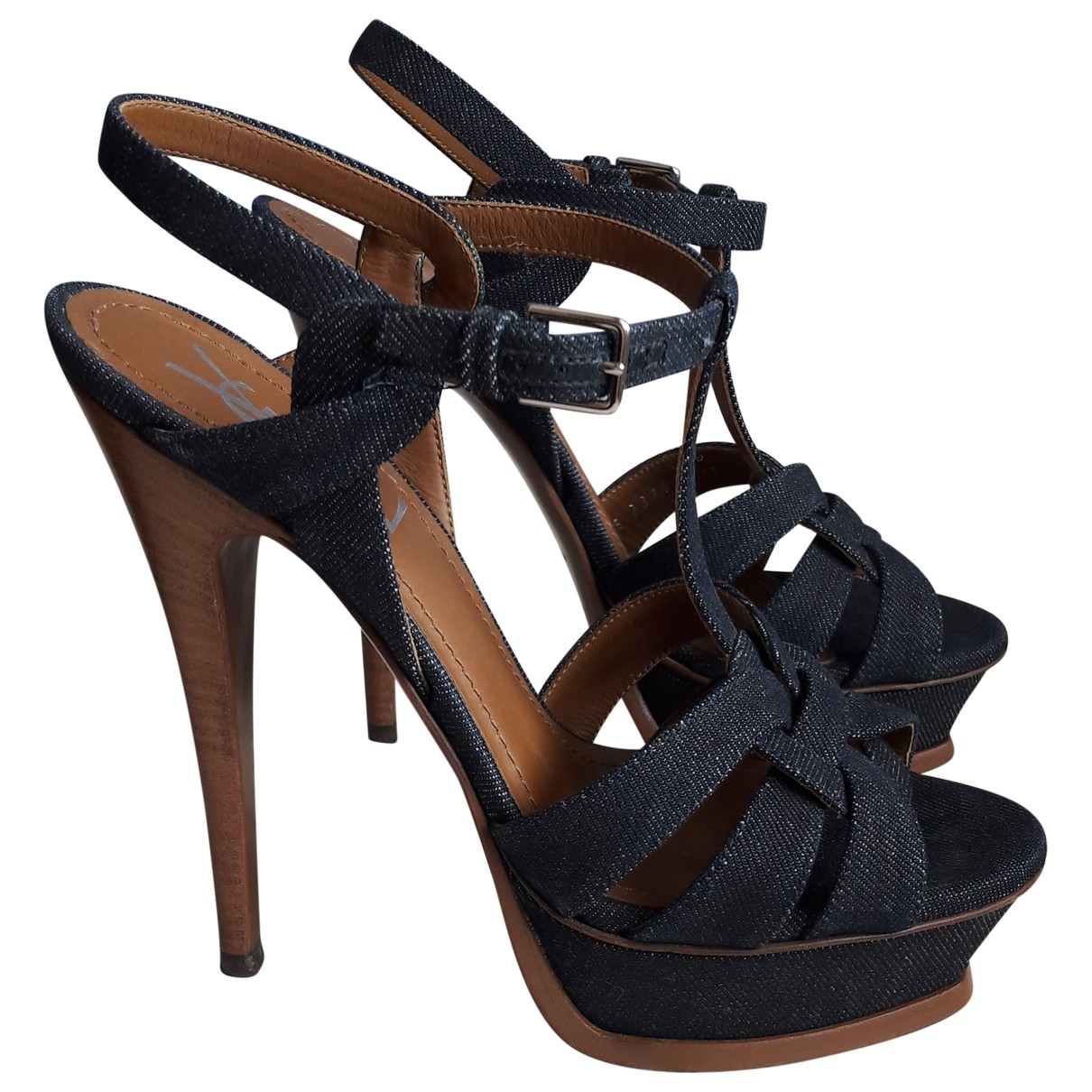 Yves Saint Laurent Tribute Blue Leather Sandals for Women 37 EU