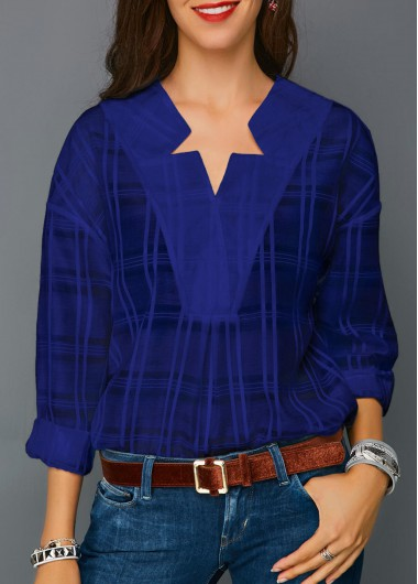 Women'S Royal Blue Long Sleeve Plaid Print Work Blouse Curved Hem Split Neck Casual Top By Rosewe - S