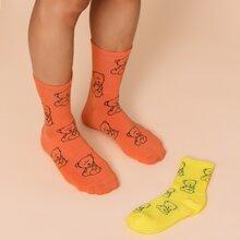 2 pares calcetines de hombres con estampado de dibujos animados