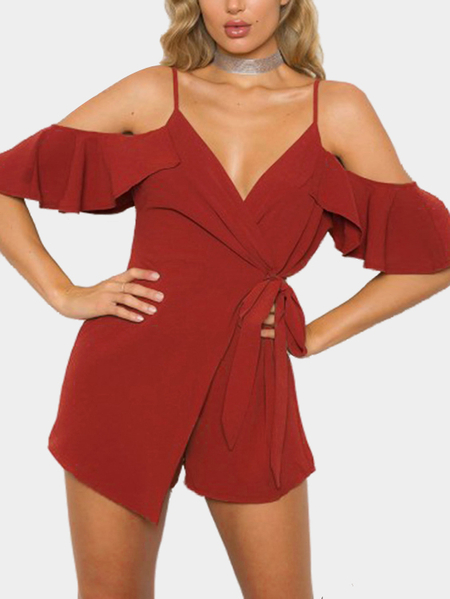 Yoins Cold Shoulder Wrap Playsuit in Burnt Orange