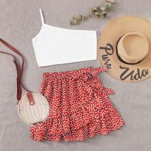 One Shoulder Cami & Ditsy Floral Wrap Skirt