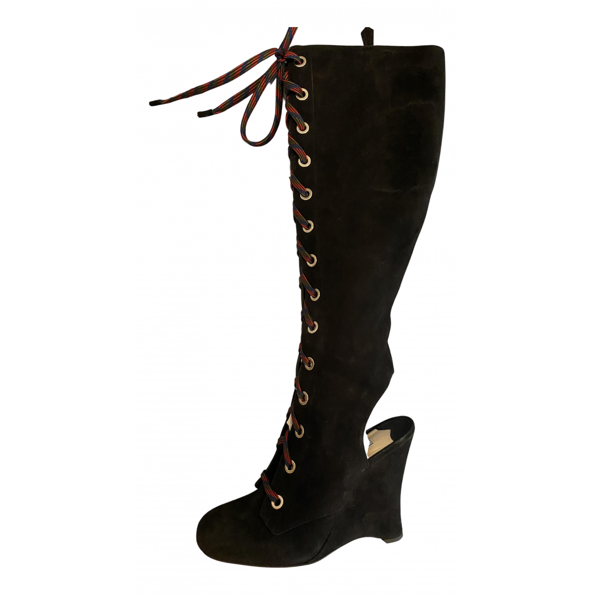 Prada \N Black Suede Boots for Women 38.5 IT