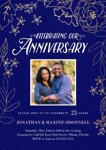 Anniversary Invitations 5x7 Cards, Premium Cardstock 120lb, Card & Stationery -Gilded Botanicals