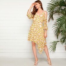 Ruffle Trim Cold Shoulder Asymmetrical Hem Floral Dress