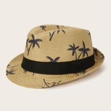Kinder Panama Hut mit Kokonussbaum Muster