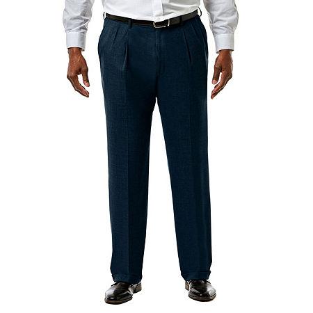 JM Haggar Premium Stretch Sharkskin Classic Fit Pleated Suit Pants - Big & Tall, 44 34, Blue