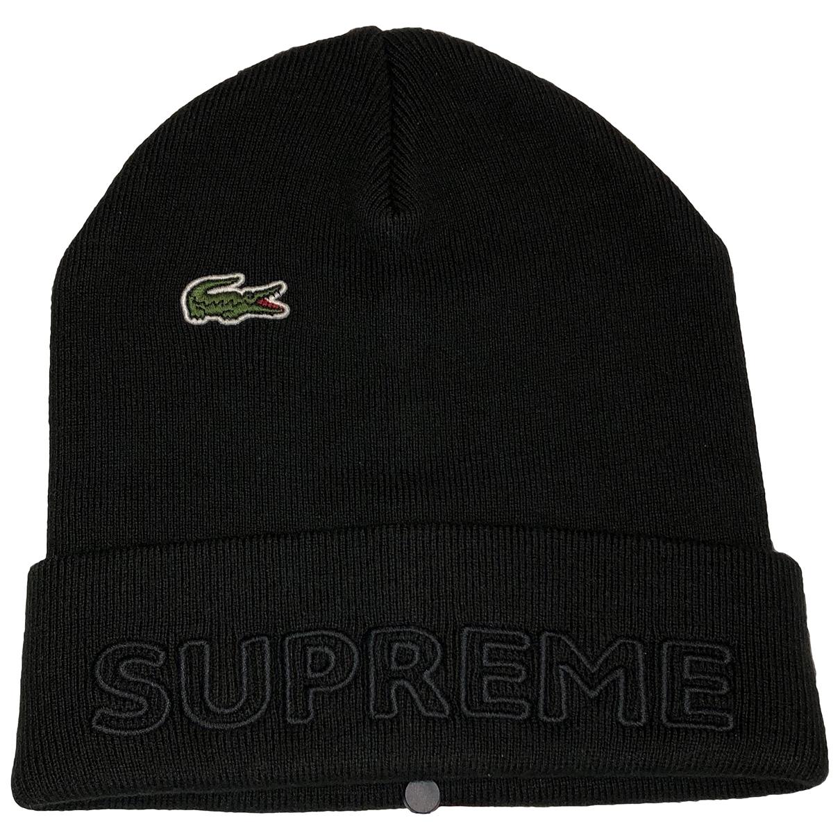 Lacoste X Supreme - Chapeau & Bonnets   pour homme en coton - noir