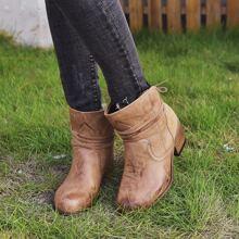 Minimalist Tie Back Chunky Heeled Boots