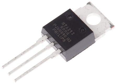 WeEn Semiconductors Co., Ltd BTA212-600B,127 12A, 600V, TRIAC, Gate Trigger 1.5V 50mA, 3-pin, Through Hole, TO-220AB