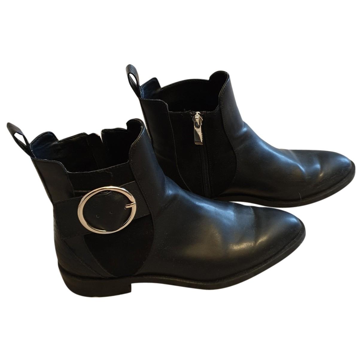 Zara - Bottes   pour femme en cuir verni - noir