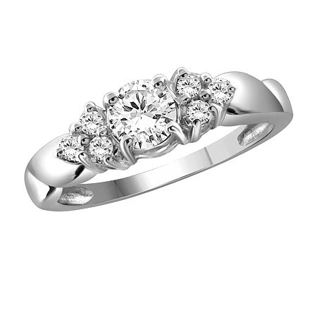 Womens 1 1/3 CT. T.W. White Cubic Zirconia Sterling Silver Promise Ring, 8 , No Color Family