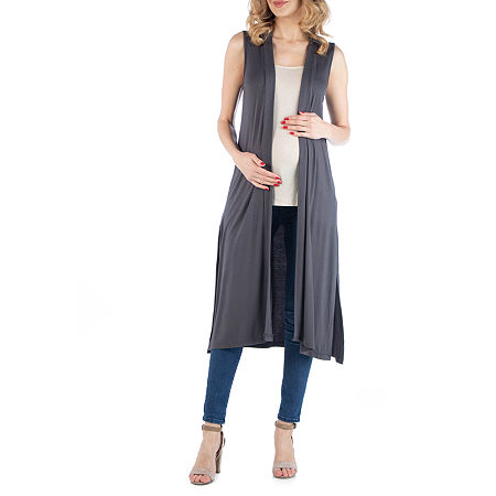 24/7 Comfort Apparel Sleeveless Long Cardigan with Side Slit, 2x , Black