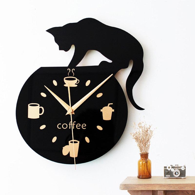 Silent Art Wall Clock Cute Climbing Cat for Coffee Home Office Room Wall Decor