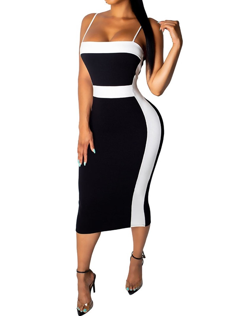 Ericdress Sleeveless Backless Mid-Calf Spaghetti Strap Color Block Dress
