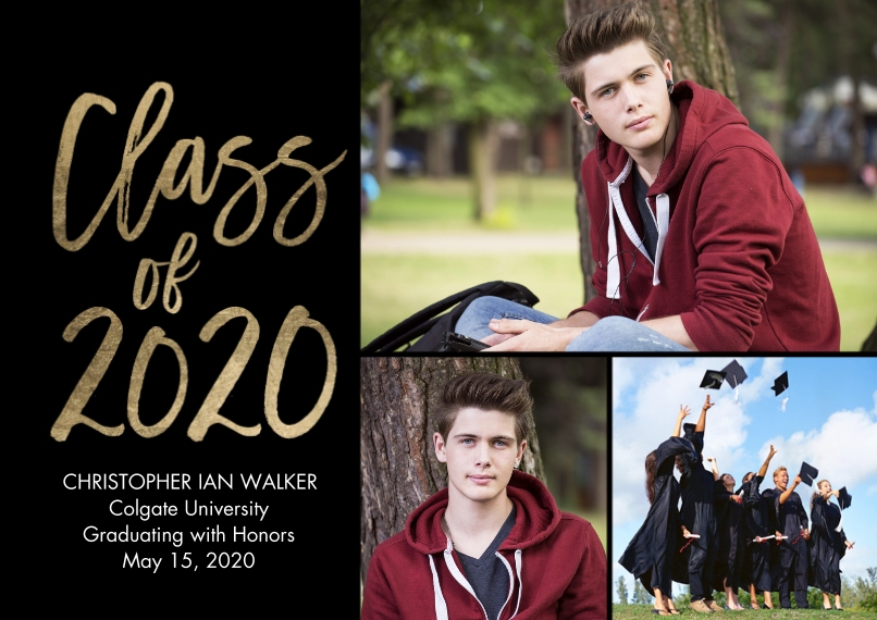 2020 Graduation Announcements 5x7 Cards, Premium Cardstock 120lb, Card & Stationery -2020 Gold Class of Script by Tumbalina