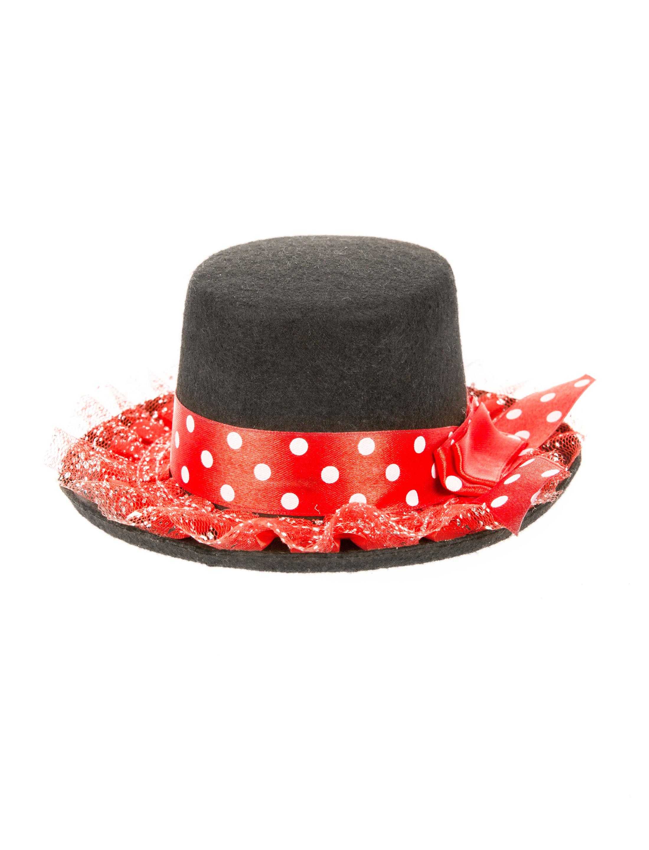 Kostuemzubehor Mini Hut mit Band & weissen Punkten schwarz