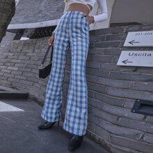Hose mit Reissverschluss, Karo Muster und ausgestelltem Beinschnitt
