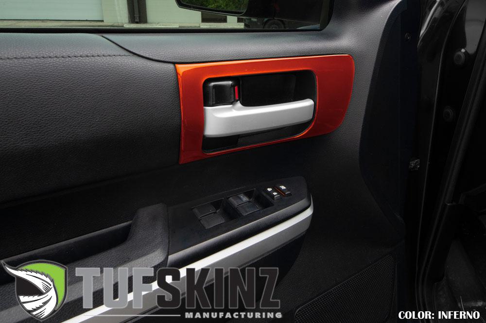 Tufskinz TUN028-FNO-G Front Door Handle Accent Trim Fits 14-up Toyota Tundra 2 Piece Kit in Inferno Orange Similar to Exterior Inferno Orange