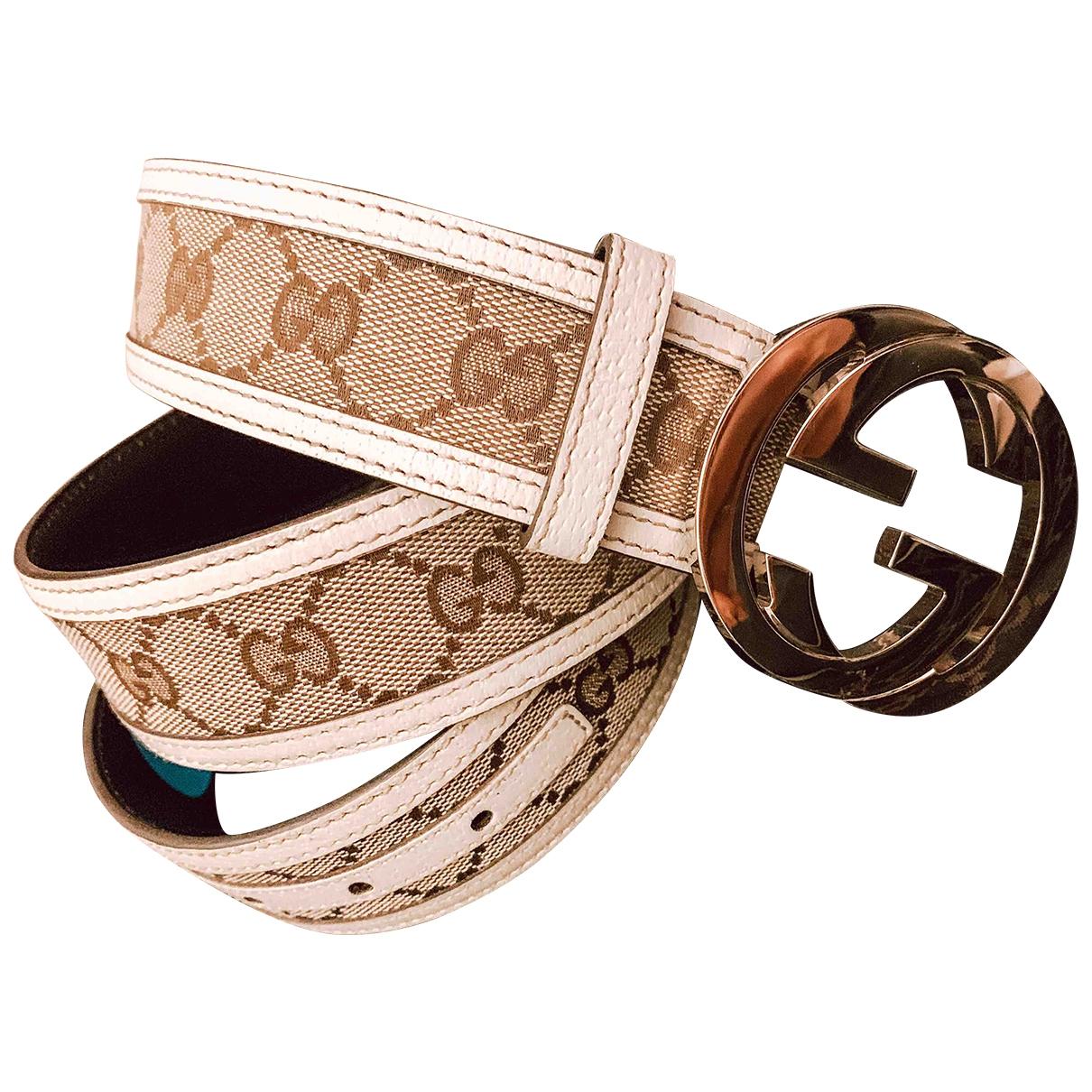 Gucci - Ceinture Interlocking Buckle pour femme en toile - beige
