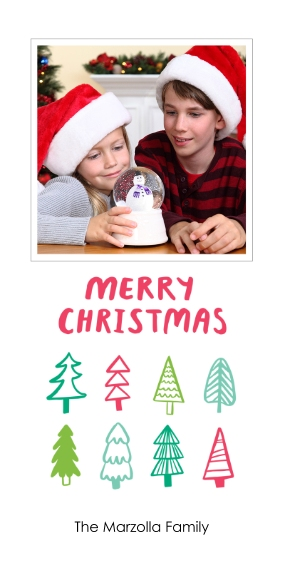 Christmas Photo Cards Flat Matte Photo Paper Cards with Envelopes, 4x8, Card & Stationery -Festive Trees
