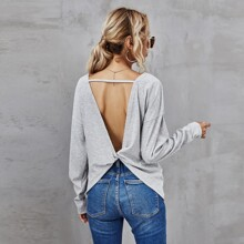 Camiseta tejida de canale de espalda abierta girante