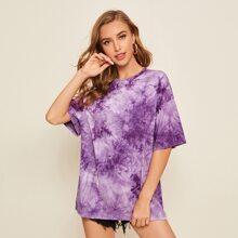Camiseta larga amplia de hombros caidos de tie dye