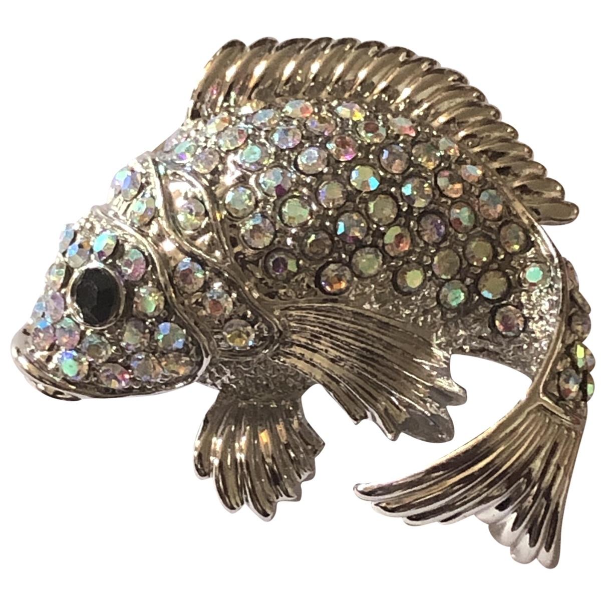 Non Signe / Unsigned Motifs Animaliers Brosche in  Silber Kristall