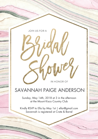 Wedding Shower Invitations Flat Glossy Photo Paper Cards with Envelopes, 5x7, Card & Stationery -Bridal Shower Marble Paper by Tumbalina