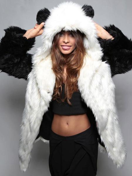 Milanoo Faux Fur Coat Women Black Hooded Long Sleeve Oversized Winter Coat