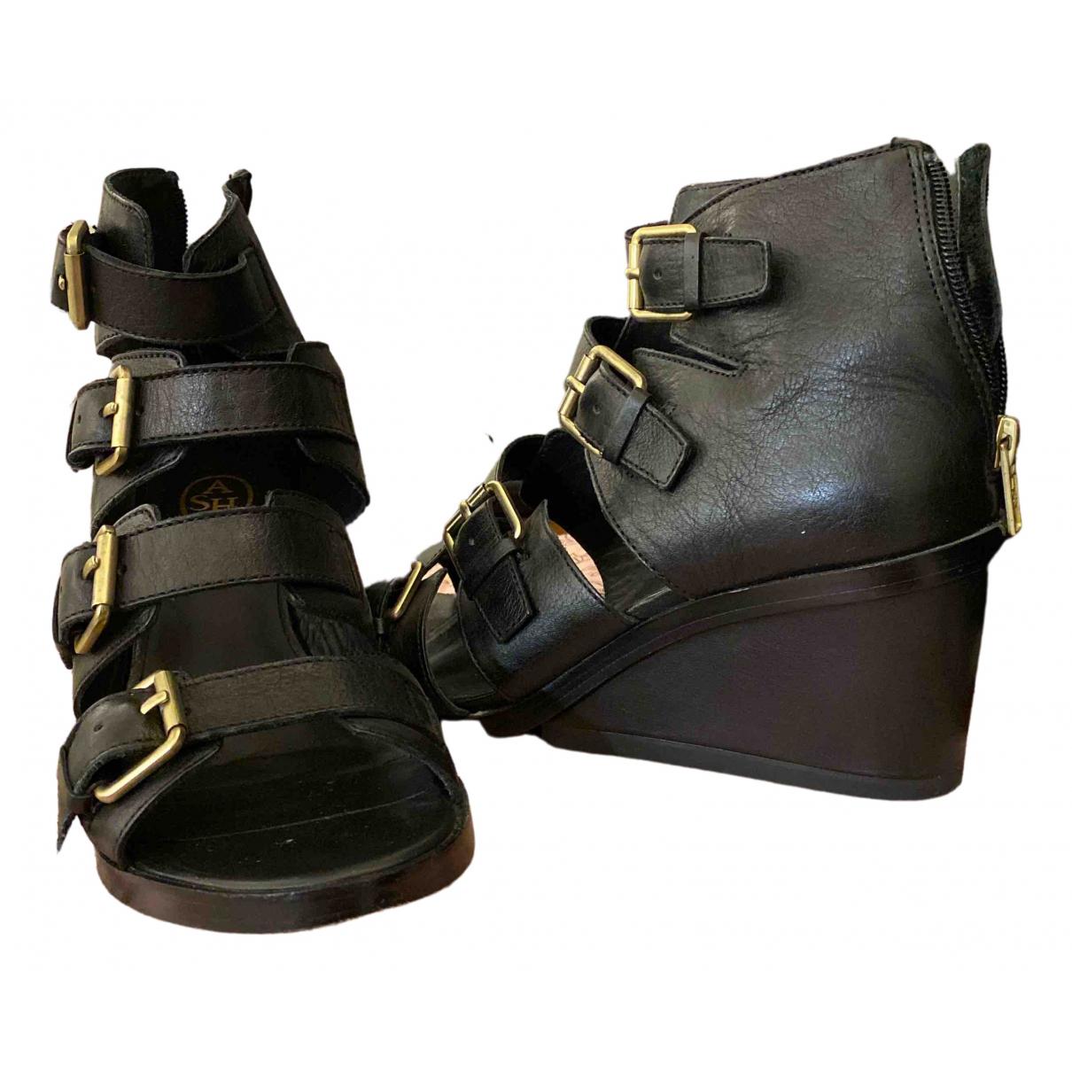 Ash \N Black Leather Heels for Women 38 EU
