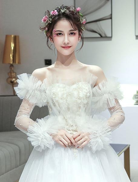 Milanoo Gloves Wedding Ruffles Pearls Ivory Arm Length Bridal Accessories