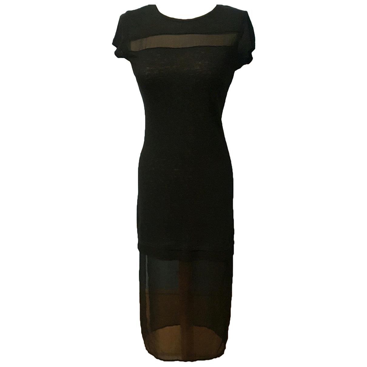 Sandro \N Kleid in  Schwarz Leinen