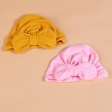 2pcs Baby Plain Bow Decor Turban Hat