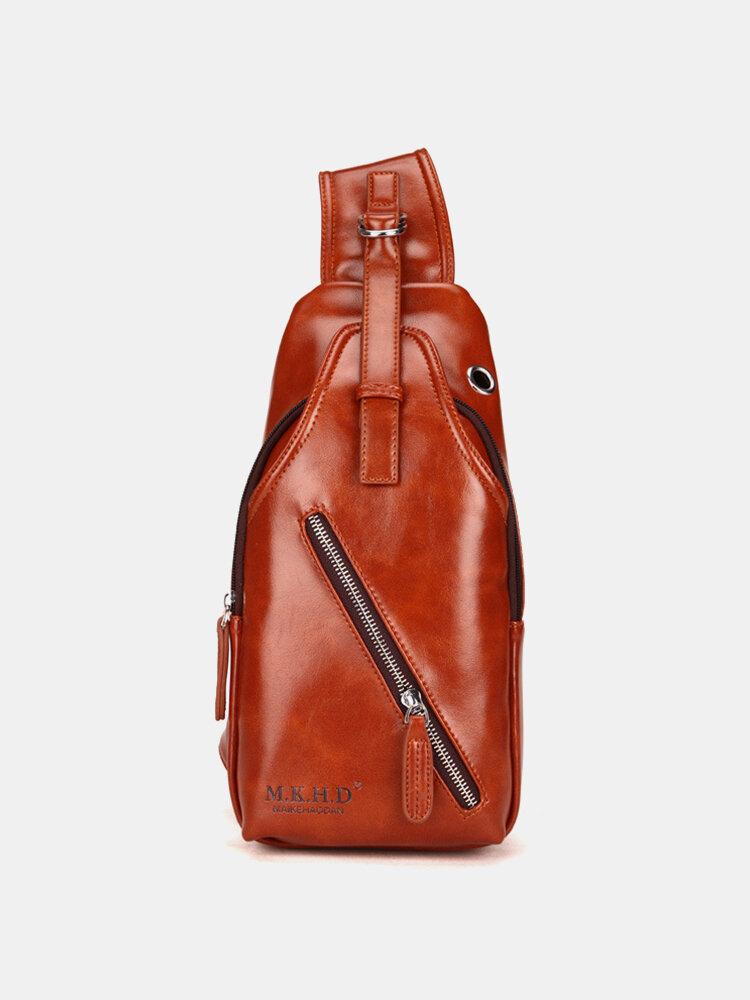 Men PU Leather Earphone Hole Multi-pockets Chest Bag Crossbody Bag Sling Bag