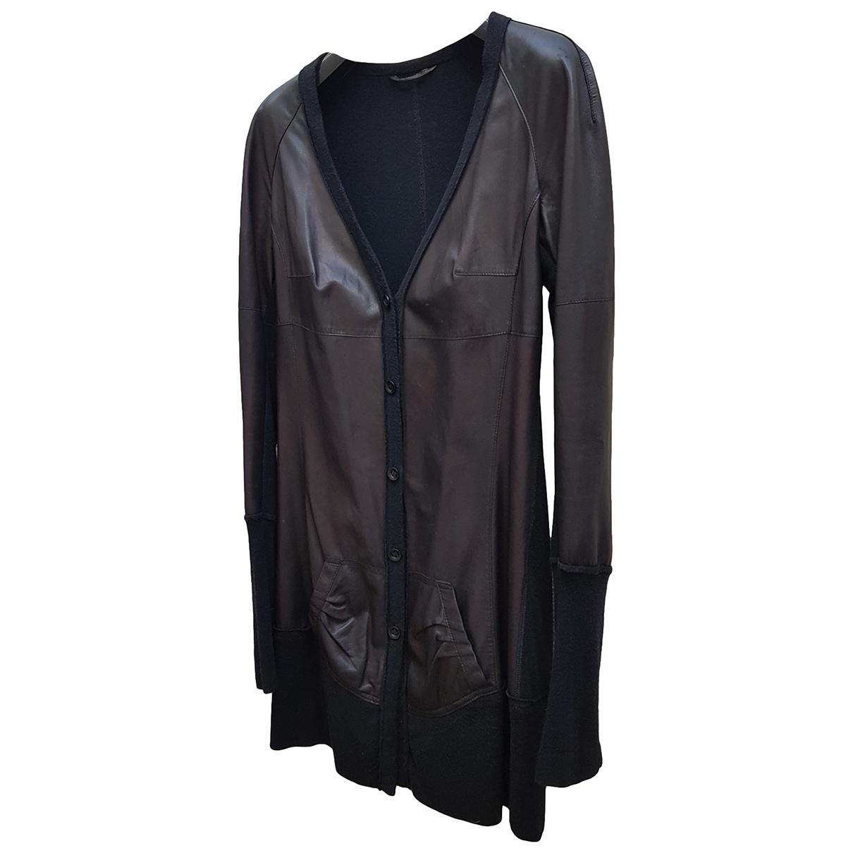 Non Signe / Unsigned \N Pullover in  Schwarz Leder