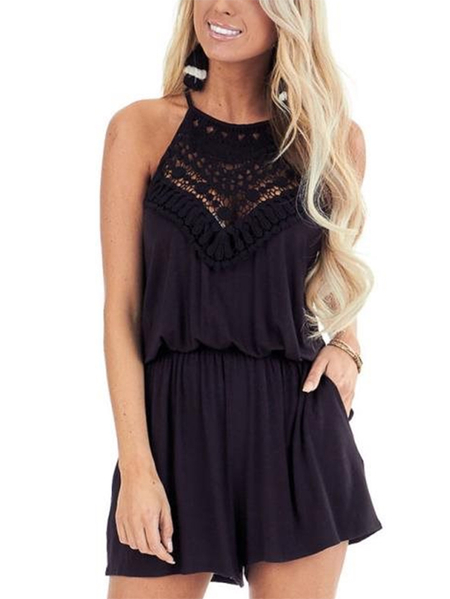 Yoins Lace Insert Halter Stretch Waistband Playsuits