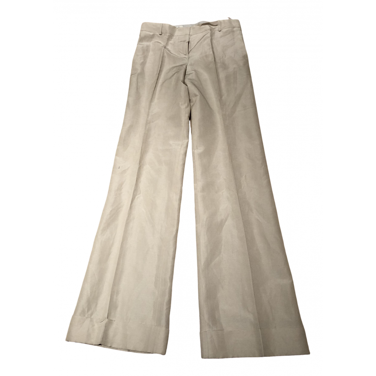 Chloé \N Ecru Linen Trousers for Women 36 FR