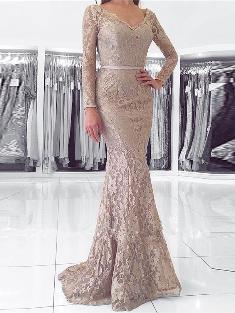 Ericdress Long Sleeve V Neck Lace Mermaid Evening Dress