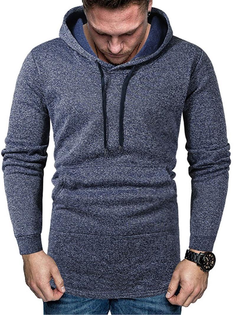 Ericdress Pocket Pullover Plain Mens Hoodies
