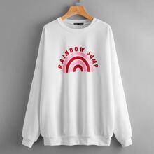 Sweatshirt mit Regenbogen & Buchstaben Grafik und sehr tief angesetzter Schulterpartie