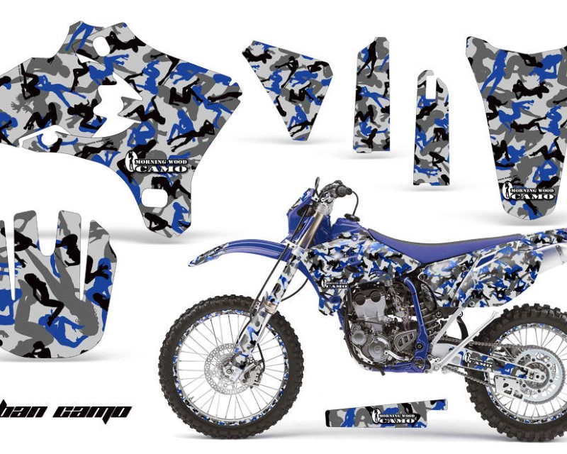 AMR Racing Graphics MX-NP-YAM-WR250F-WR450F-05-06-UC U Kit Decal Wrap + # Plates For Yamaha WR250 WR450F 2005-2006 URBAN CAMO BLUE
