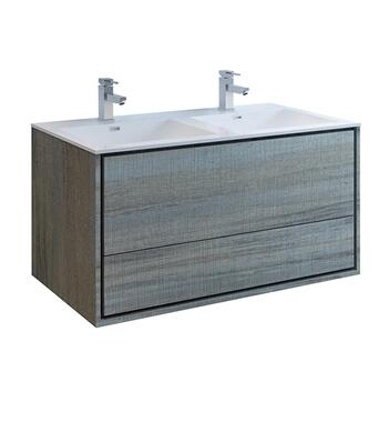 FCB9248OG-D-I Catania 48 Ocean Gray Wall Hung Modern Bathroom Cabinet with Integrated Double