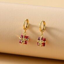 Gemstone Decor Drop Earrings