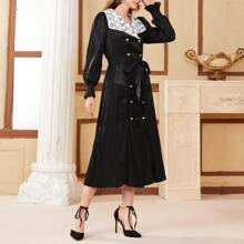 Double Button Contrast Lace Belted Dress